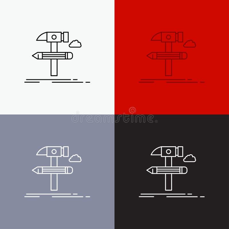 Construisez, concevez, développez-vous, usinez, icône d'outils au-dessus de divers fond Ligne conception de style, con?ue pour le illustration stock