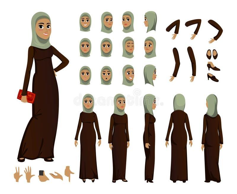 Construtor árabe do caráter da mulher ajustado no estilo liso Avatars ou ícones muçulmanos da menina com emoções diferentes e bra ilustração royalty free