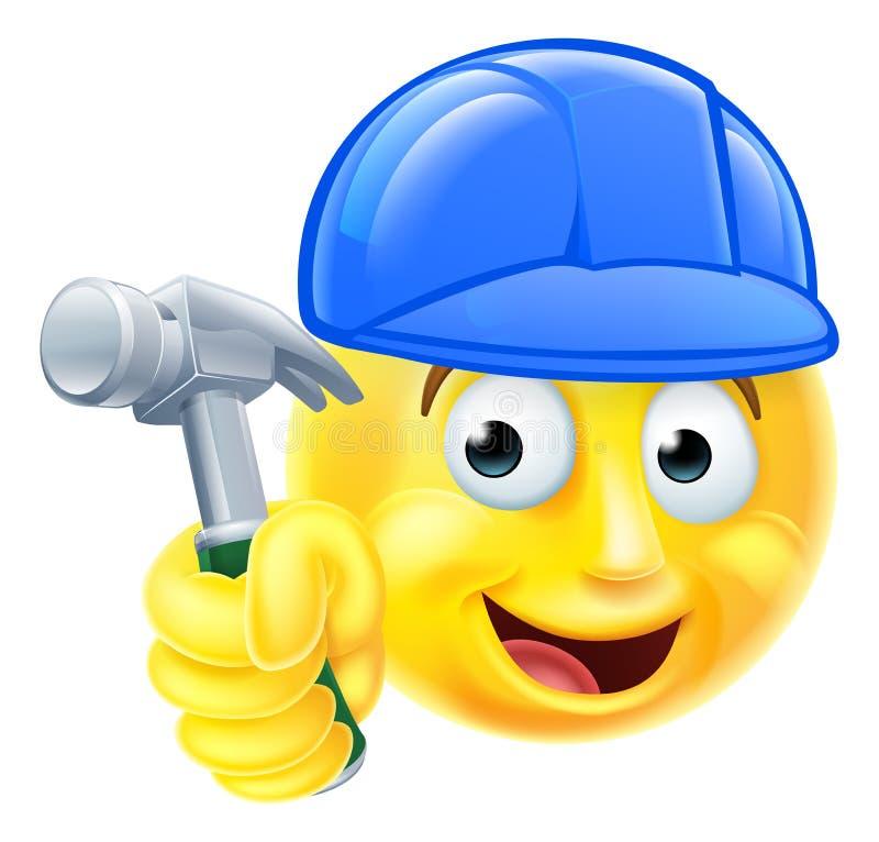 Construtor acessível Emoji Emoticon do carpinteiro do homem ilustração stock