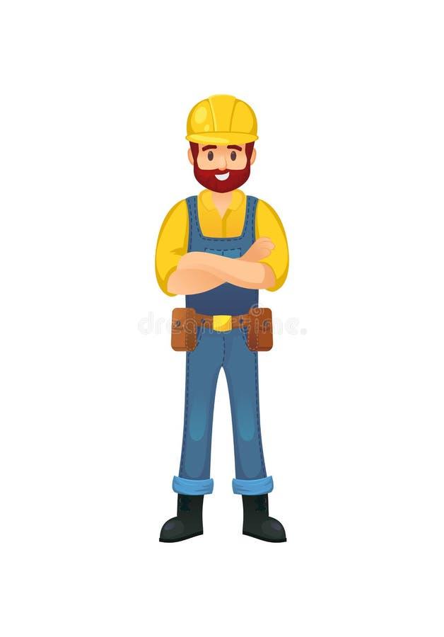Construtor alegre no capacete de segurança ilustração do vetor