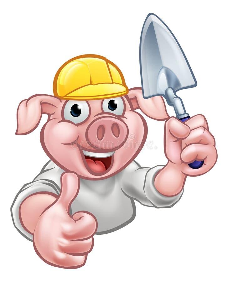 Construtor Cartoon Character do porco ilustração do vetor