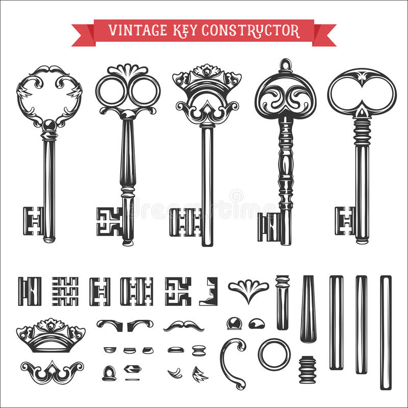 Construtor chave do vintage ilustração stock