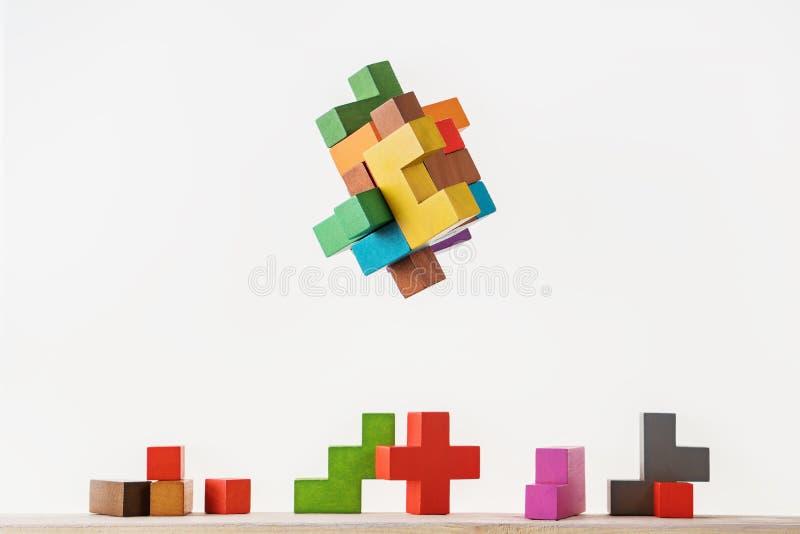 Construtor colorido, jogo da lógica, mosaico cúbico fotografia de stock royalty free