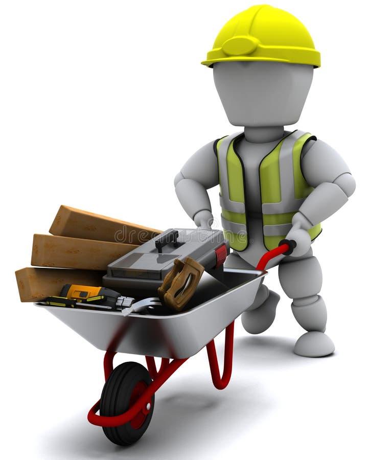 Construtor com as ferramentas carreg de um carrinho de mão de roda ilustração royalty free