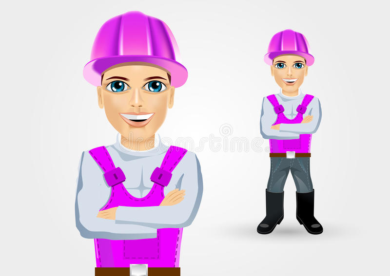 Construtor com braços cruzados ilustração stock