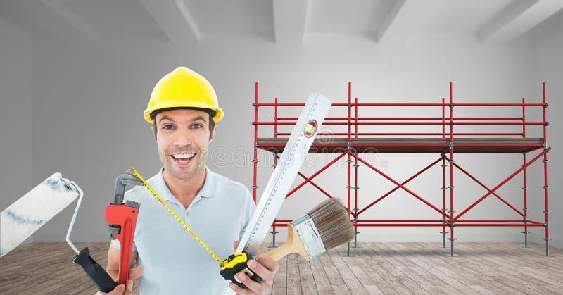 Construtor com muitas ferramentas na fonte do andaime 3D imagens de stock