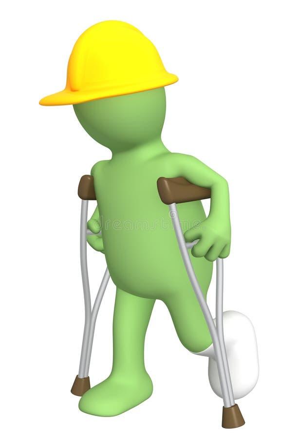 Construtor com muletas ilustração stock