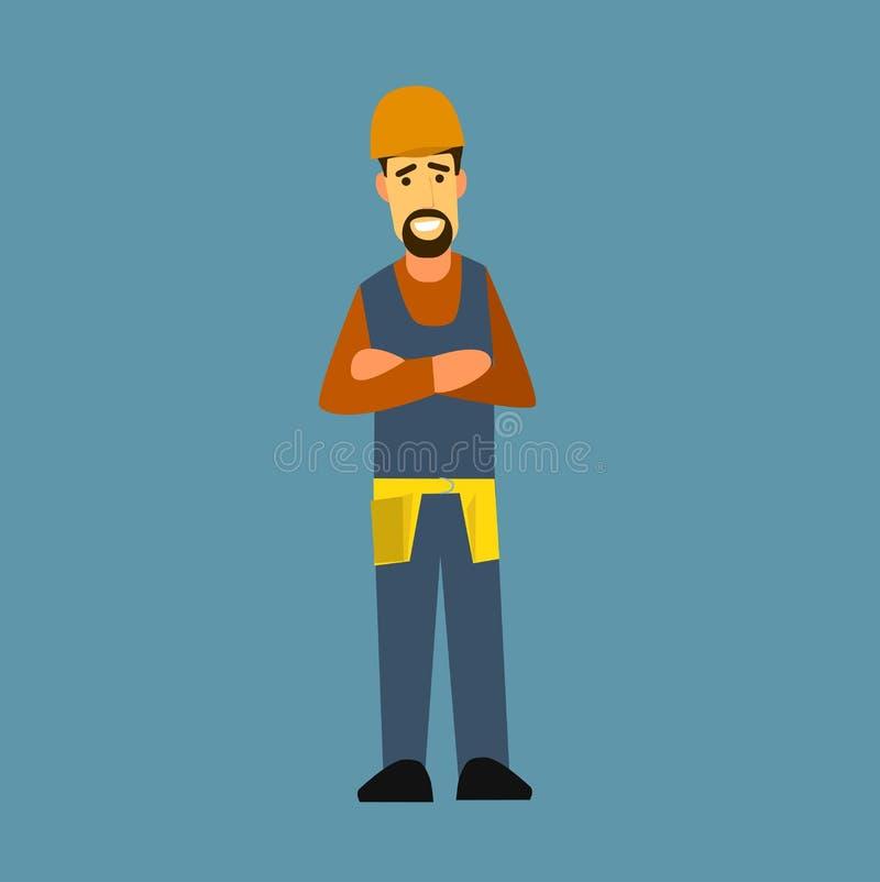 Construtor com os braços cruzados em sua caixa ilustração do vetor