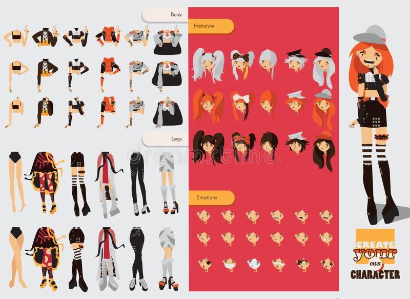 Construtor com peças sobresselentes para a menina visual bonita do kei Penteados diferentes, emoções, acessórios, levantando para ilustração do vetor
