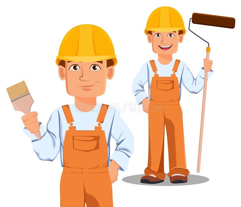 Construtor considerável no uniforme, personagem de banda desenhada ilustração royalty free