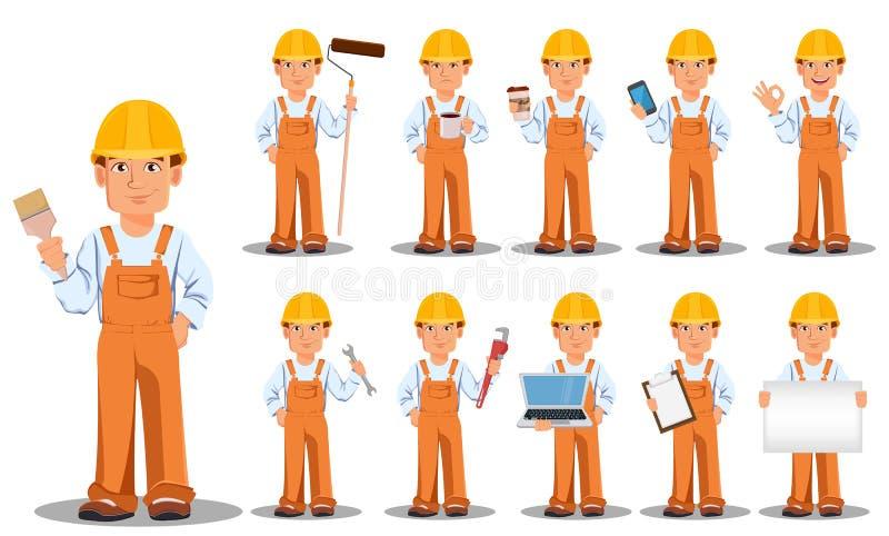 Construtor considerável no uniforme, personagem de banda desenhada, grupo ilustração do vetor