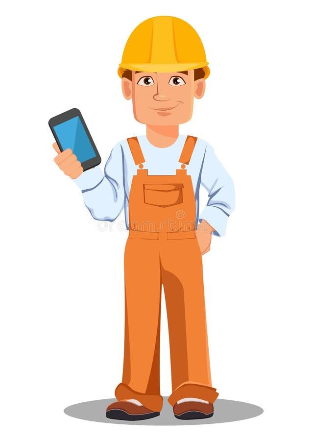 Construtor considerável no uniforme Trabalhador da construção profissional ilustração do vetor