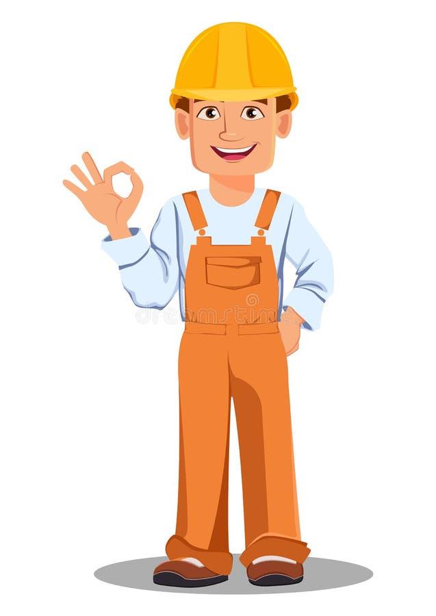 Construtor considerável no uniforme Trabalhador da construção profissional ilustração royalty free