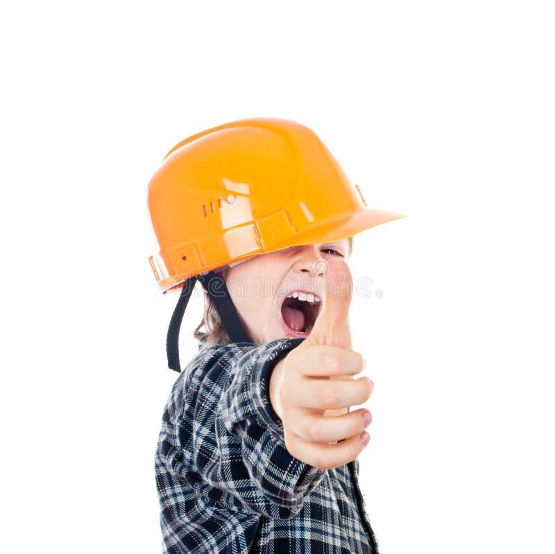 Construtor da criança com polegares acima imagem de stock