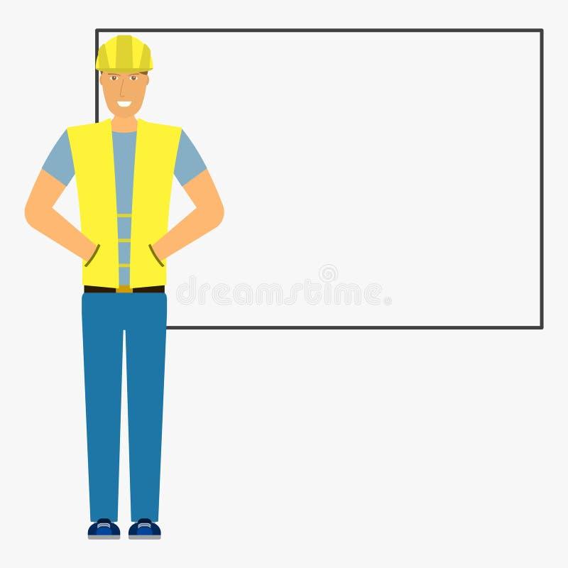 Construtor da imagem no fundo da placa Ilustração lisa isolada no fundo branco Vetor ilustração stock