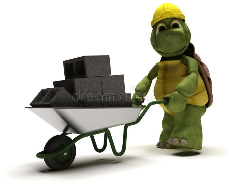 Construtor da tartaruga com um carrinho de mão de roda ilustração royalty free