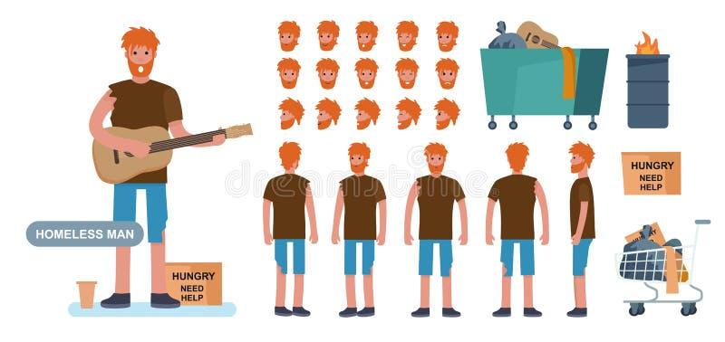 Construtor de caracteres de homem sem-teto para criação de animação cet Vista frontal, lateral e traseira vetor de estilo de dese ilustração stock