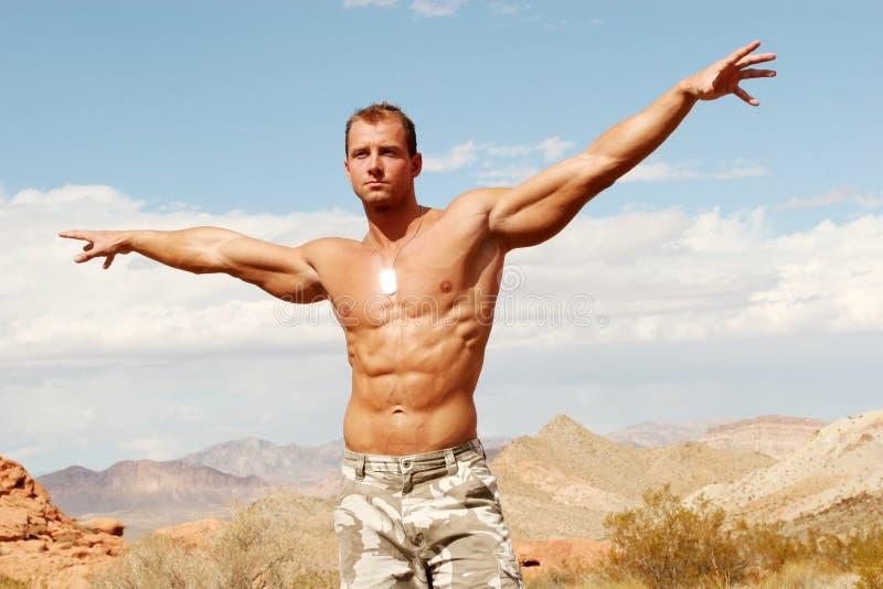 Construtor de corpo muscular 'sexy' imagem de stock royalty free