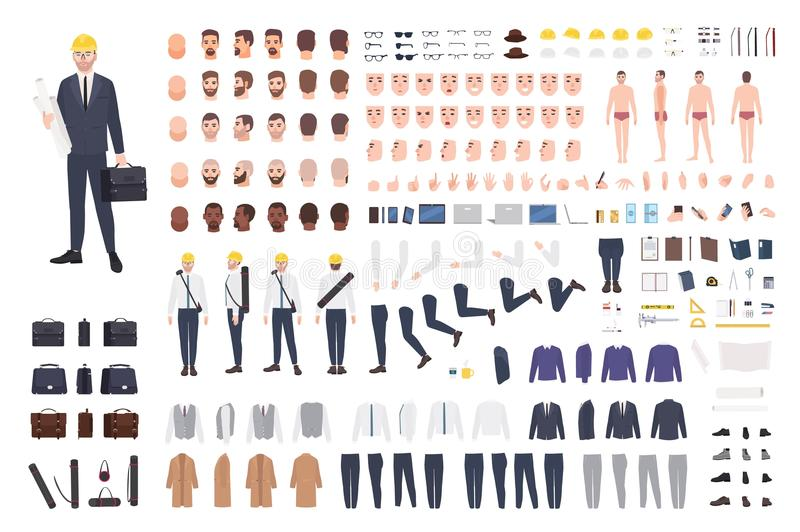Construtor do arquiteto ou do coordenador ou jogo de DIY Coleção das partes do corpo masculinas do personagem de banda desenhada, ilustração stock