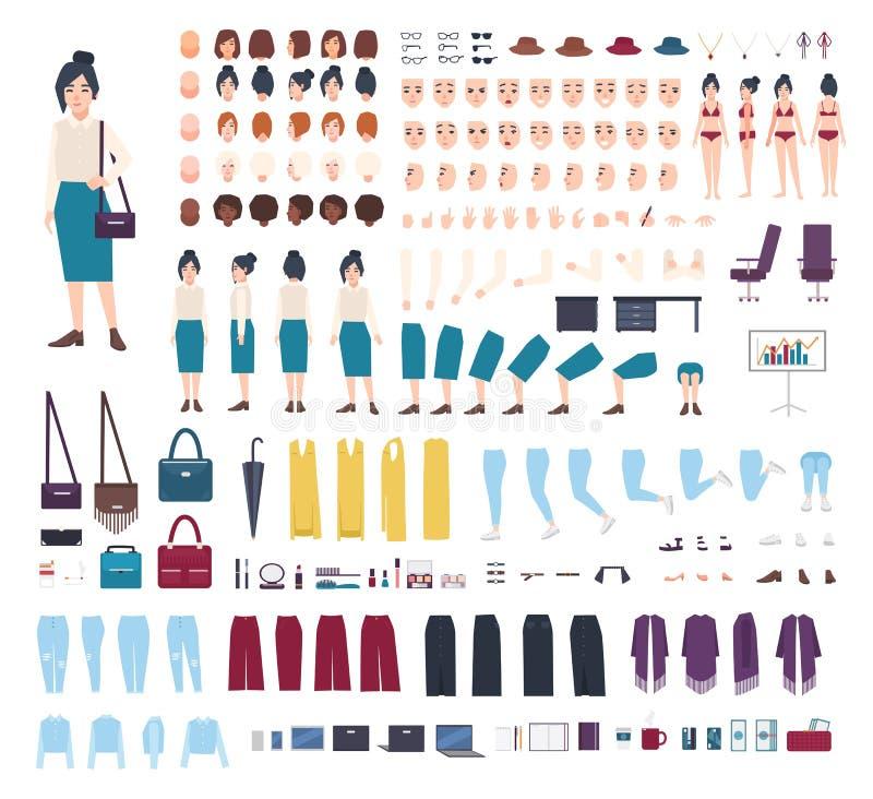 Construtor do caráter da mulher de negócio Grupo da criação do caixeiro da menina Posturas diferentes, penteado, cara, pés, mãos, ilustração stock