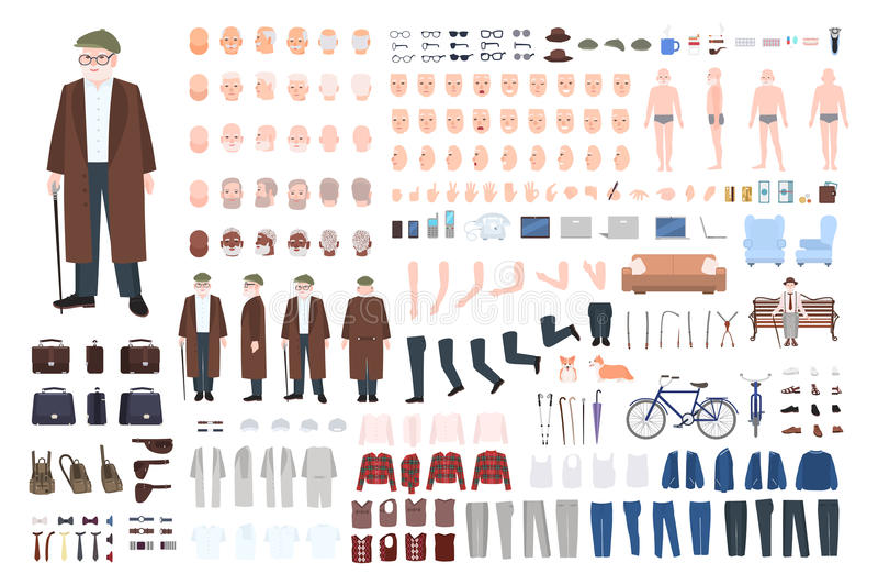 Construtor do caráter do ancião, grupo da criação Posturas de primeira geração diferentes, penteado, cara, pés, mãos, roupa ilustração royalty free