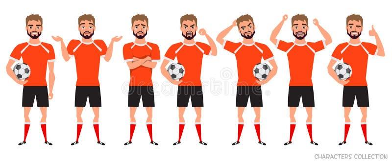 Construtor do caráter do jogador de futebol Posturas diferentes do jogador de futebol, emoções ajustadas ilustração royalty free