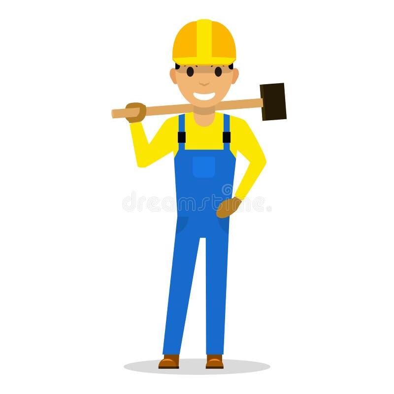 Construtor do homem dos desenhos animados do vetor com um malho ilustração stock