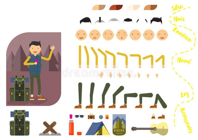 Construtor do turista do homem Caminhando o homem com telefone e trouxa Parte separada da pessoa masculina Ícones com emoções dif ilustração stock