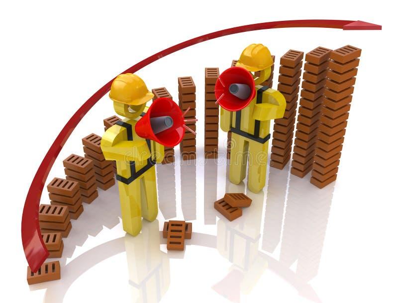 Construtor dois com carta do megafone e do tijolo ilustração stock