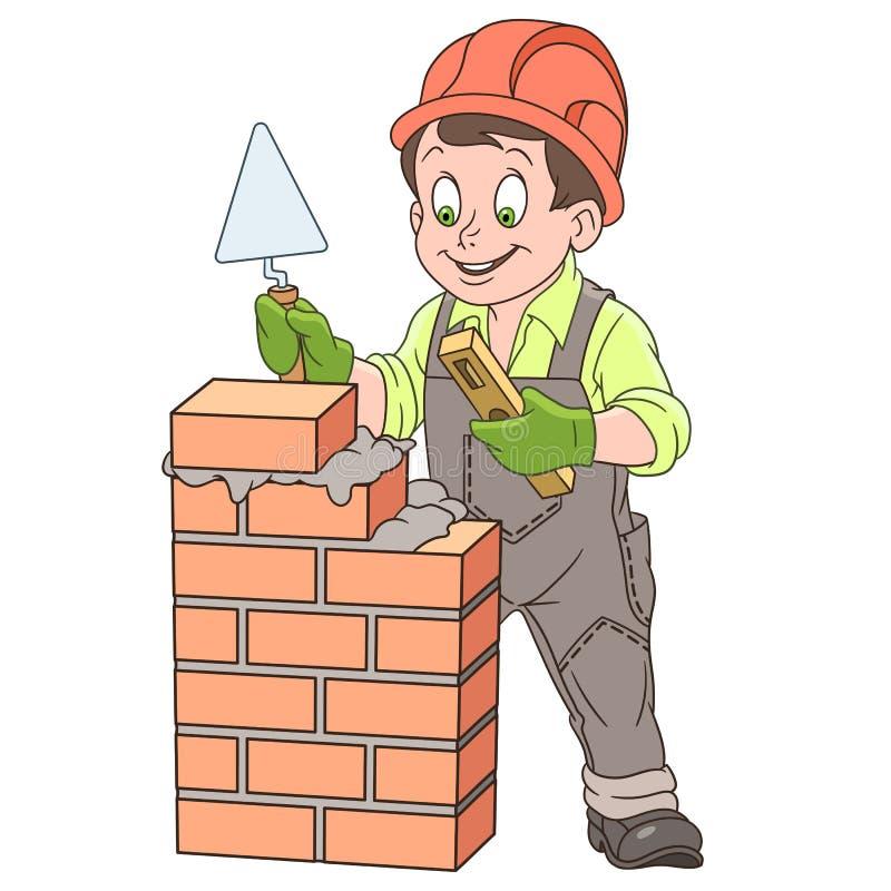 Construtor dos desenhos animados em torno da parede de tijolo ilustração royalty free