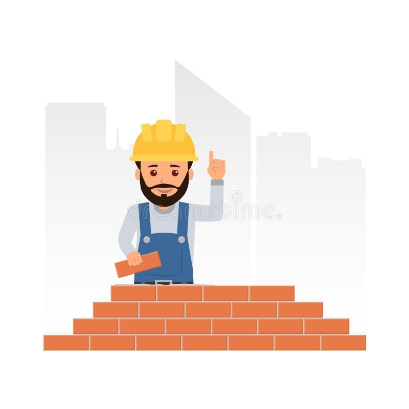 Construtor dos desenhos animados que sustenta seu indicador e que dá o conselho o trabalhador constrói uma parede de tijolo alven ilustração royalty free