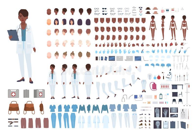 Construtor fêmea afro-americano do doutor Grupo de partes do corpo em poses diferentes, expressões faciais, uniforme isolado ilustração do vetor
