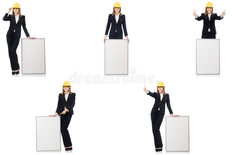 Construtor f?mea novo com whiteboard fotos de stock
