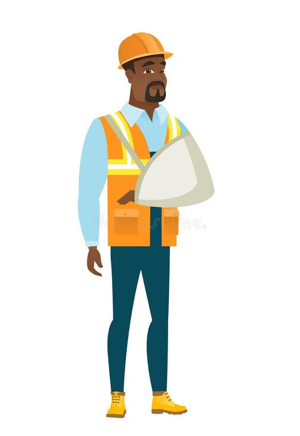 Construtor ferido com braço quebrado ilustração stock