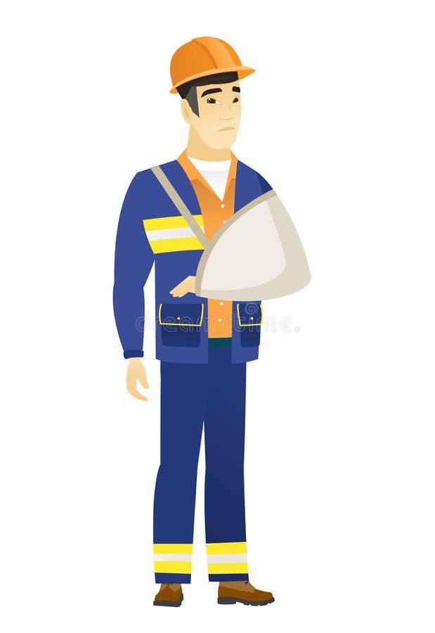 Construtor ferido com braço quebrado ilustração royalty free