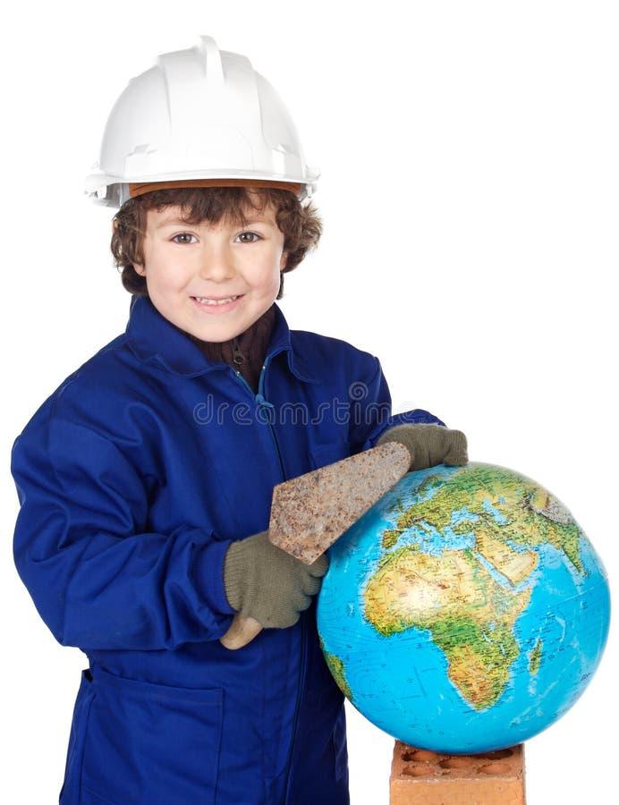 Construtor futuro adorável que constrói o mundo fotos de stock royalty free