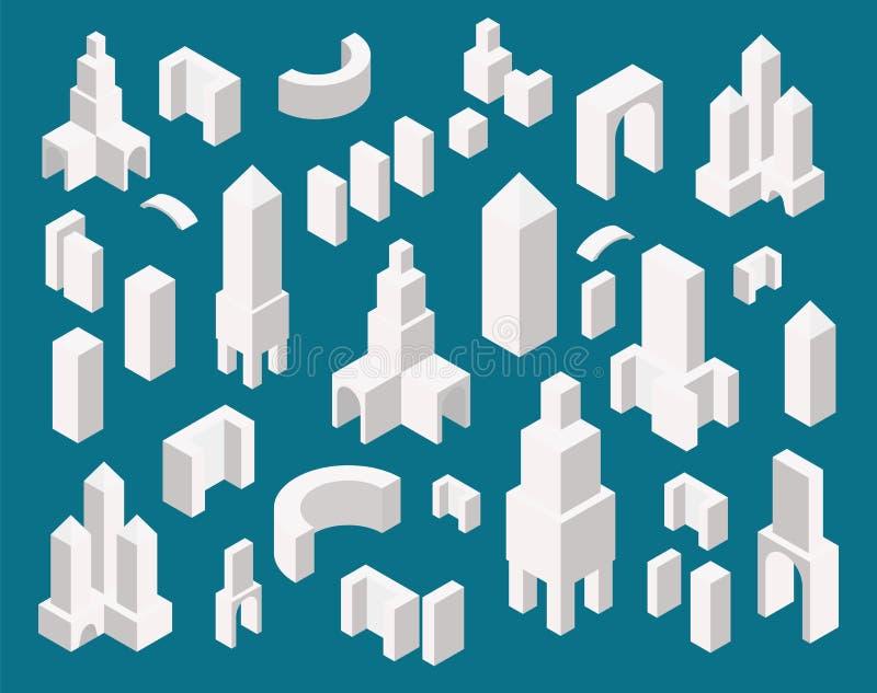 Construtor isométrico da cidade ajustado criando seu mapa da cidade Os prédios de escritórios minimalistic simples projetam ilustração royalty free
