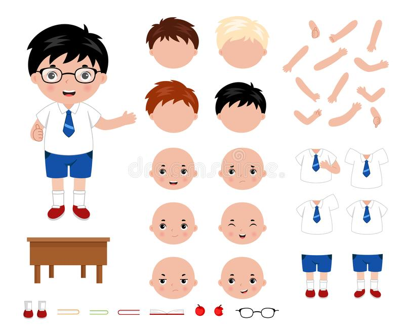 Construtor pequeno adorável do caráter do menino de escola Ilustração do vetor do estilo dos desenhos animados ilustração stock