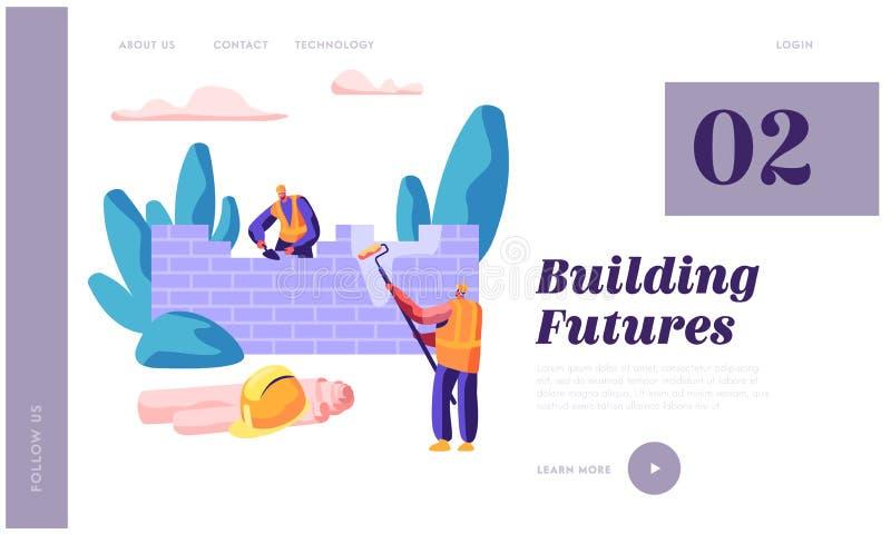 Construtor profissional no molde do Web site da parede de tijolo da construção de processo Rolo de pintura da posse do homem à di ilustração do vetor