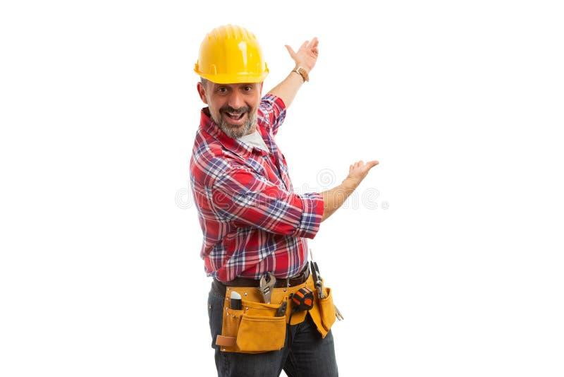 Construtor que apresenta a área de texto da cópia atrás foto de stock royalty free