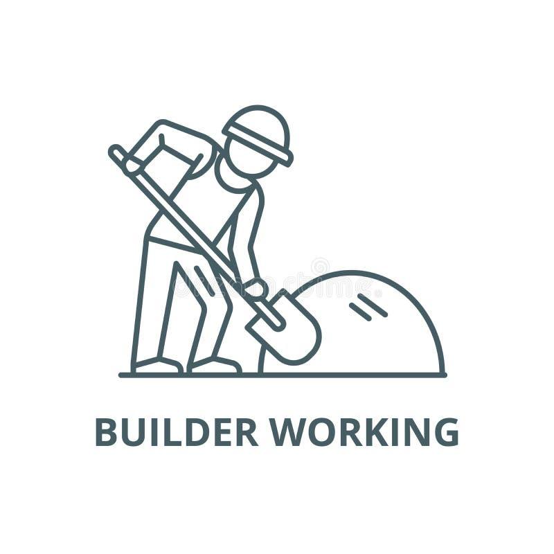 Construtor que trabalha com linha ícone da pá, vetor Construtor que trabalha com sinal do esboço da pá, símbolo do conceito, hori ilustração do vetor