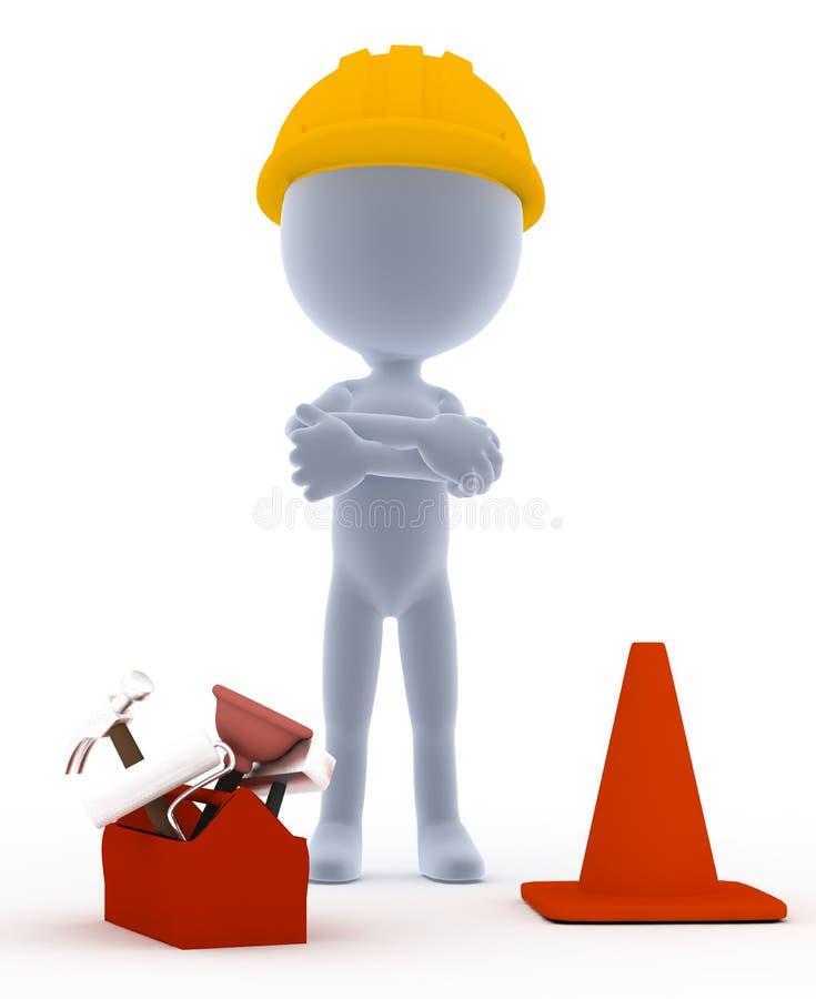 Construtor, trabalhador de Toon com ferramentas ilustração do vetor