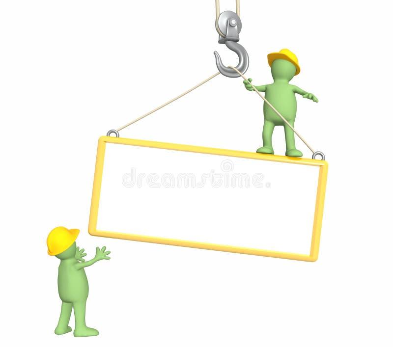 construtores 3d, abaixando um frame em um gancho ilustração royalty free