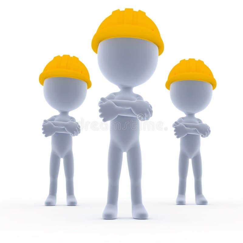 Construtores, equipe dos trabalhadores de Toon ilustração do vetor