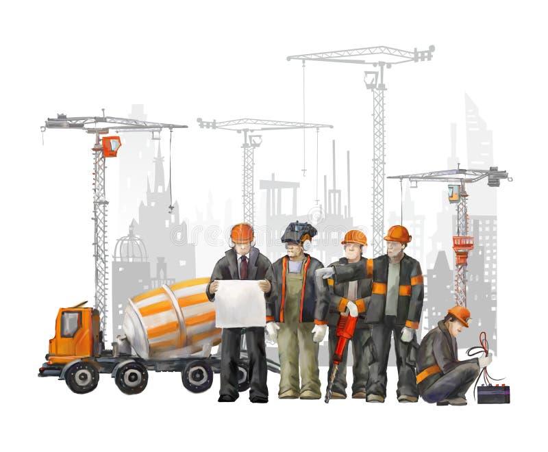 Construtores no terreno de construção Ilustração industrial com trabalhadores, guindastes e máquina do misturador concreto ilustração do vetor