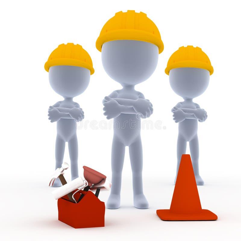 Construtores, trabalhadores de Toon com ferramentas ilustração stock