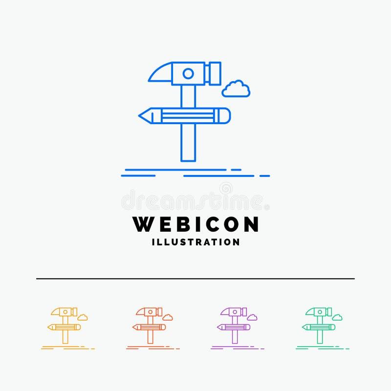 Construya, diseñe, conviértase, equipe, línea de color de las herramientas 5 plantilla del icono de la web aislada en blanco Ilus ilustración del vector