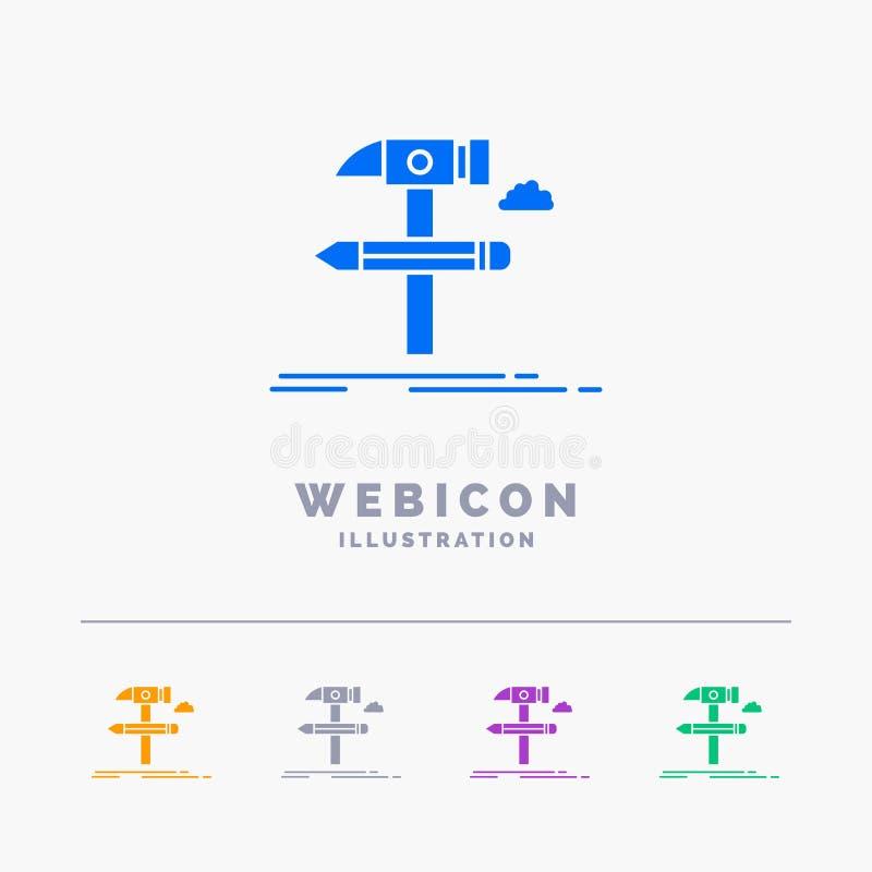 Construya, diseñe, conviértase, equipe, plantilla del icono de la web del Glyph del color de las herramientas 5 aislada en blanco stock de ilustración