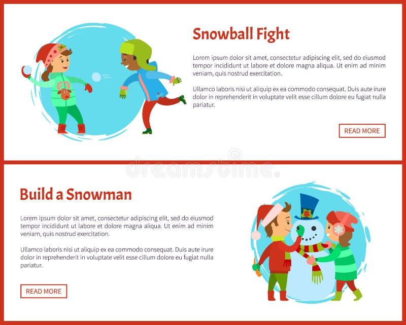 Construya el vector de las postales de las luchas del muñeco de nieve y de la bola de nieve stock de ilustración