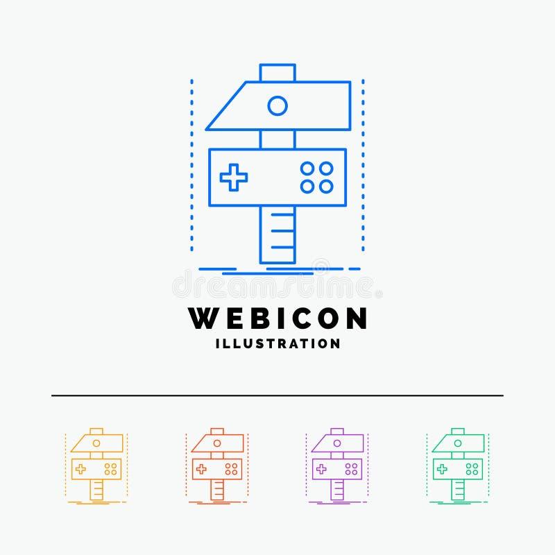 Construya, haga a mano, conviértase, desarrollador, línea de color del juego 5 plantilla del icono de la web aislada en blanco Il libre illustration